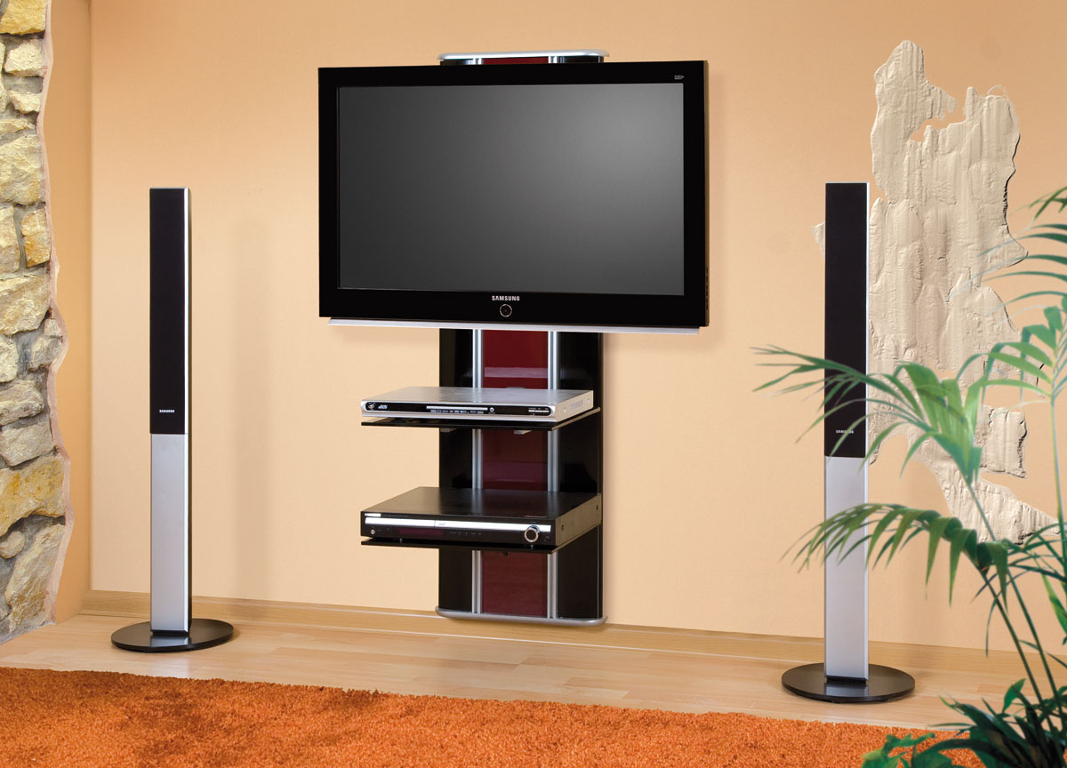 Delightful Compact And Space Saving Flat Screen Tv Wall Cabinet In Black And Red  Accent With Double