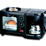 compact black toaster oven design with transoarent door and coffee maker and small pan