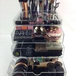 compact makeup organizing idea with big drawers made of acrylic material for transparent need