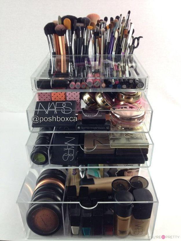 compact makeup organizing idea with big drawers made of acrylic material for transparent need & DIY Makeup Organizing Ideas for Simple but Stylish Dressing Room ...