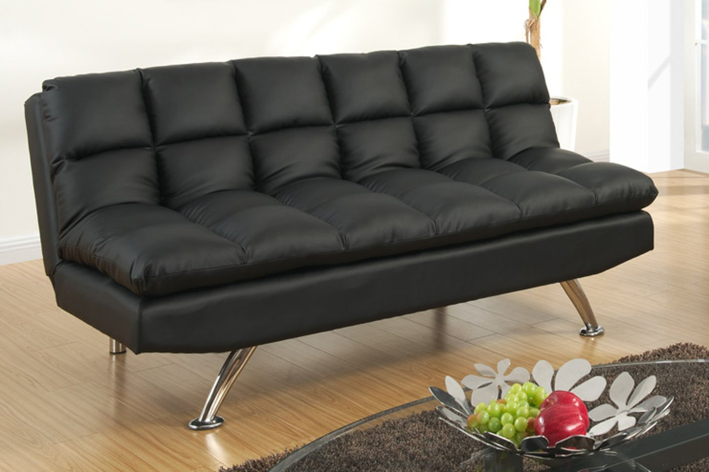 Contemporary Black Leather Twin Size Sofa Sleeper For Modern Living Space  With Natural Wooden Floor And