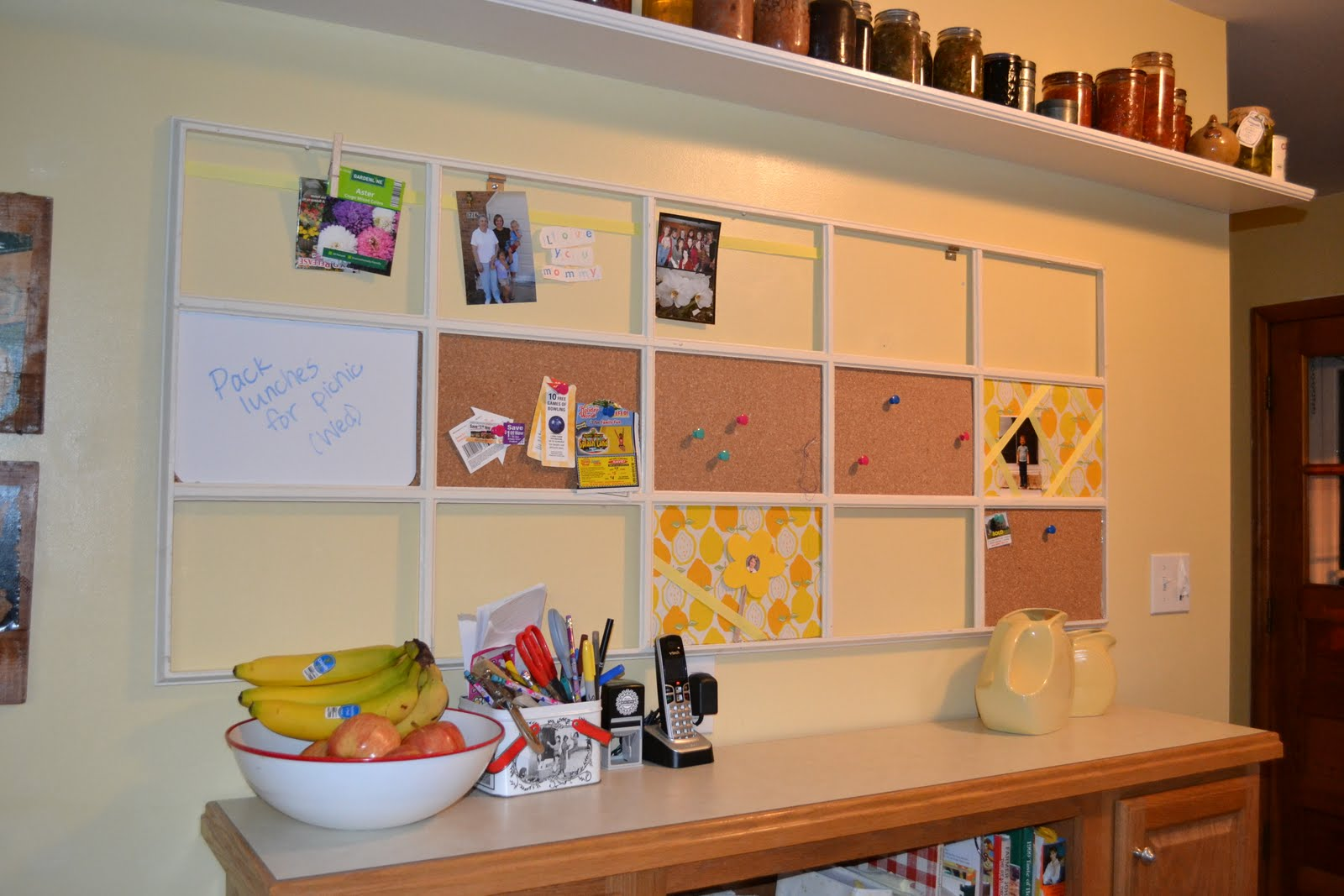 Get a sophisticated centerpiece in your home office by for Kitchen cork board ideas