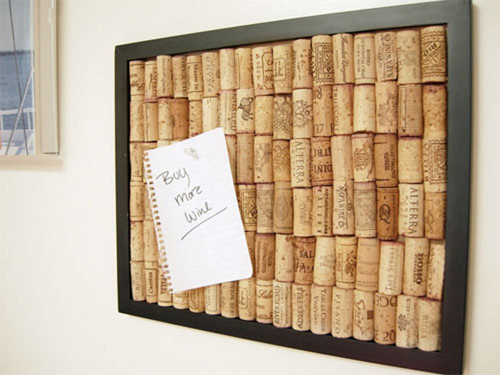 Get a sophisticated centerpiece in your home office by for Making a cork board from wine corks