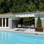 cool pool cabana plans with amazing landscape of garden and small rectangular swimming pool plus comfy sofa and coffee table