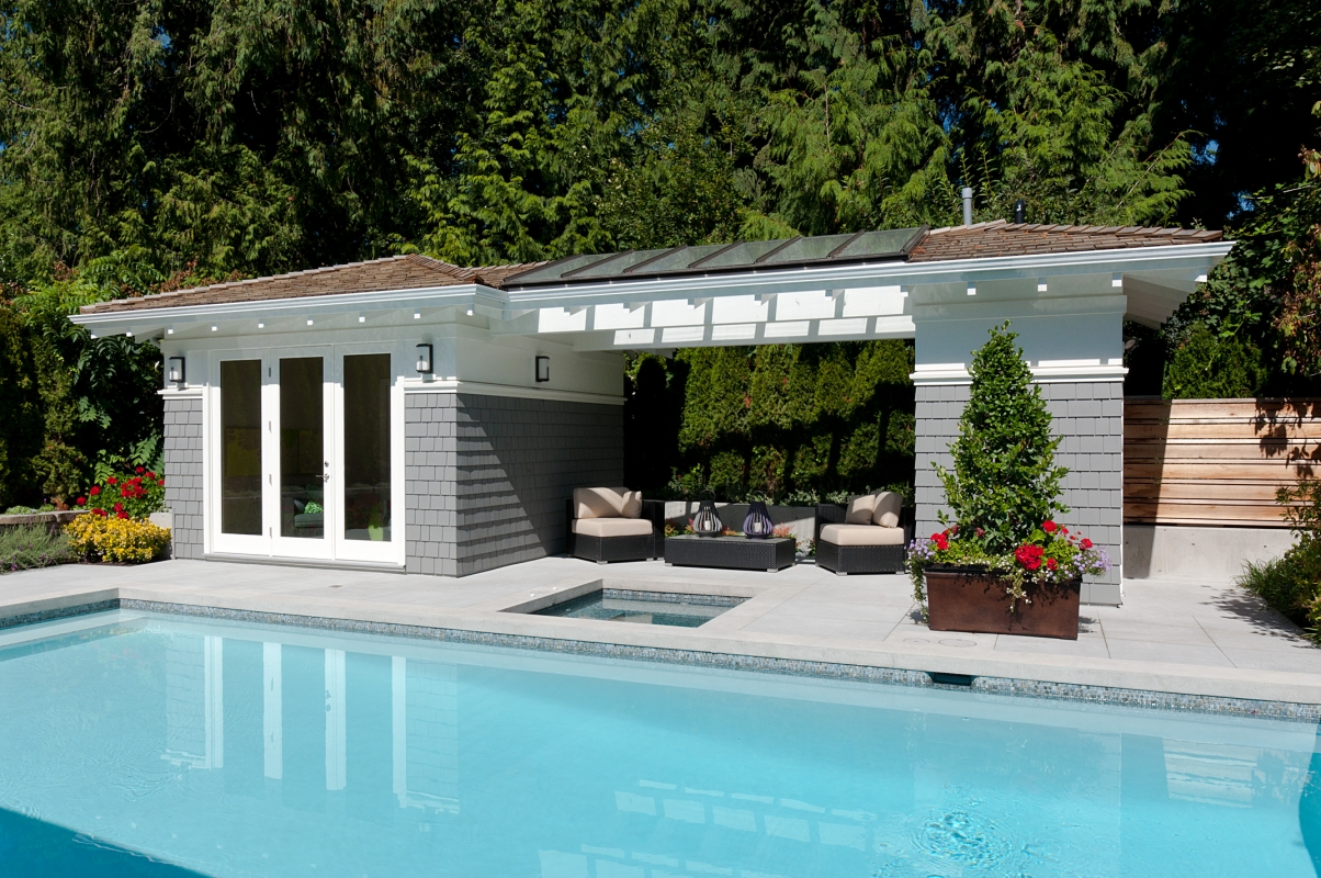 Pool cabana plans that are perfect for relaxing and for Small pool house with bathroom