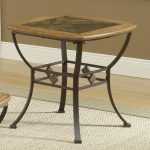 cool slate end tables with wooden and slate top plus iron legs decorated with rug on wooden floor and white baseboard molding