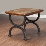 cool square slate end tables  with strong iron legs and wooden and natural slate plus wooden floor and grey painted wall