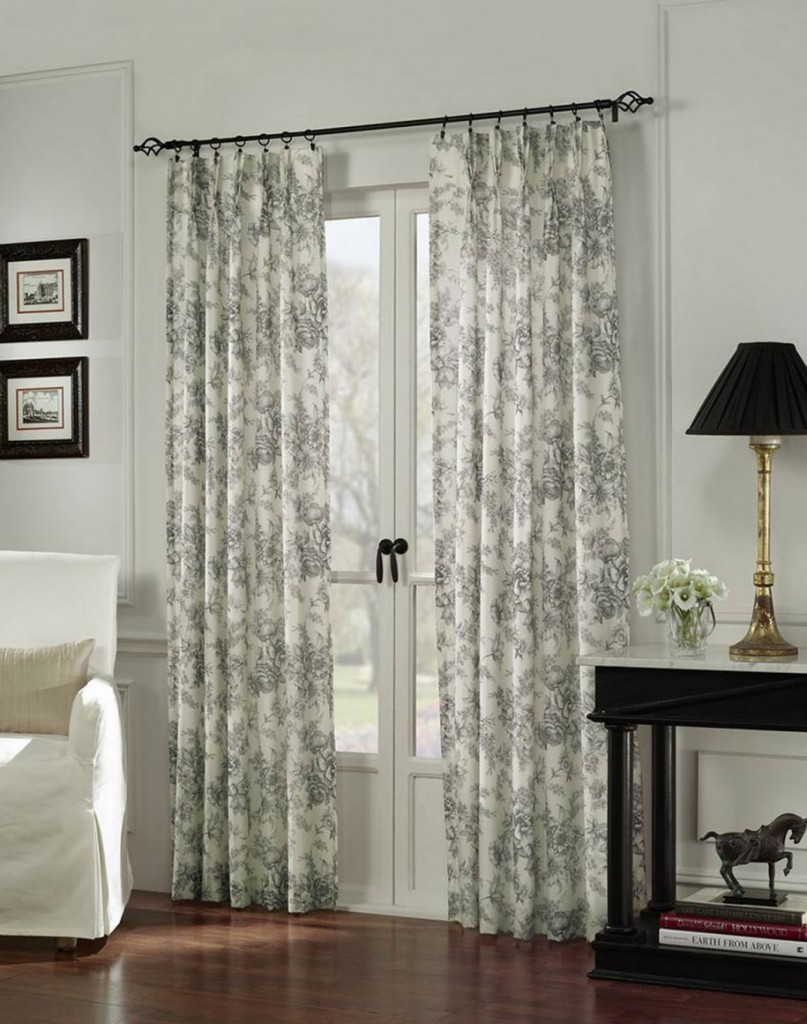 Cool White Patterned Curtains In Glass Door Together With Armchair Plus Wooden Side Table