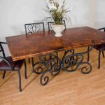 cool wrought iron kitchen table with granite top in rectangular shape plus chairs with wrougt iron and leather plus laminate floor