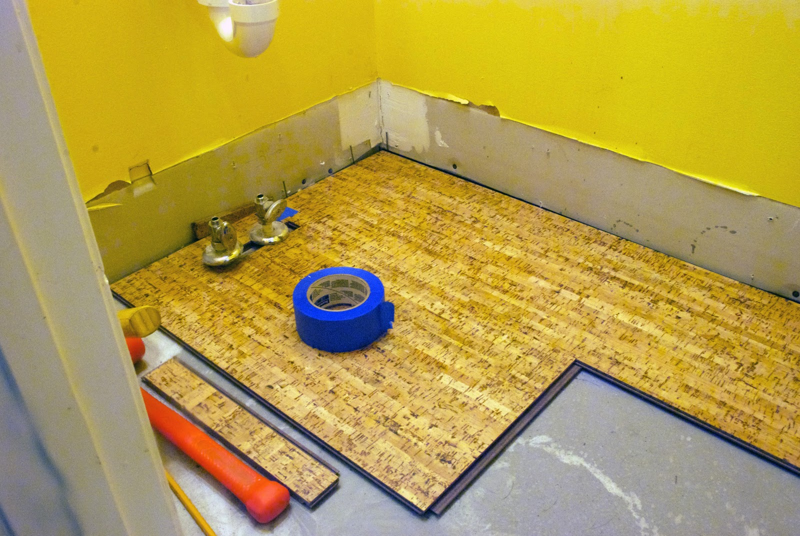 Cork Flooring In Bathroom Installation Yellow Walls