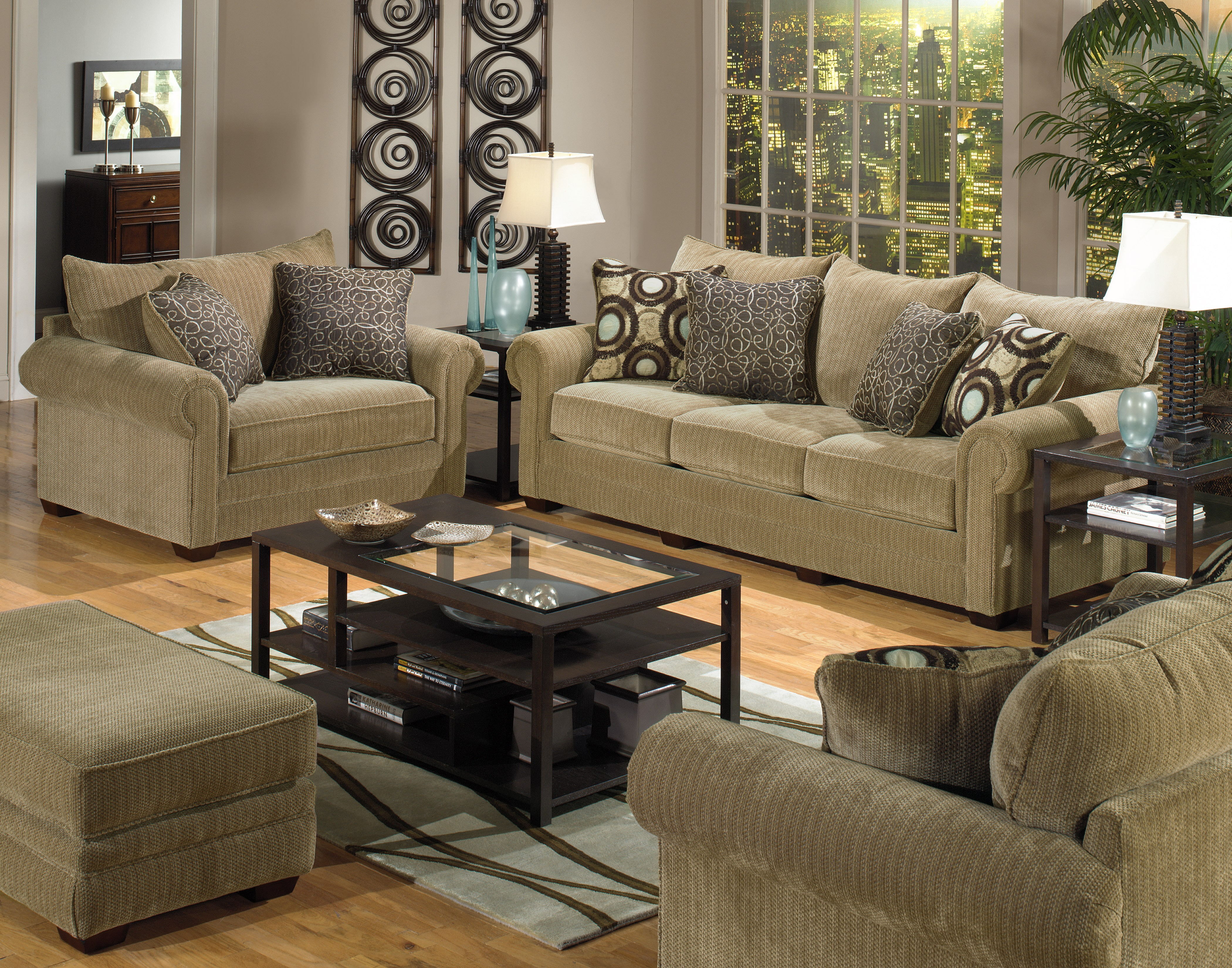 Couches Pillows Table Rug Floor
