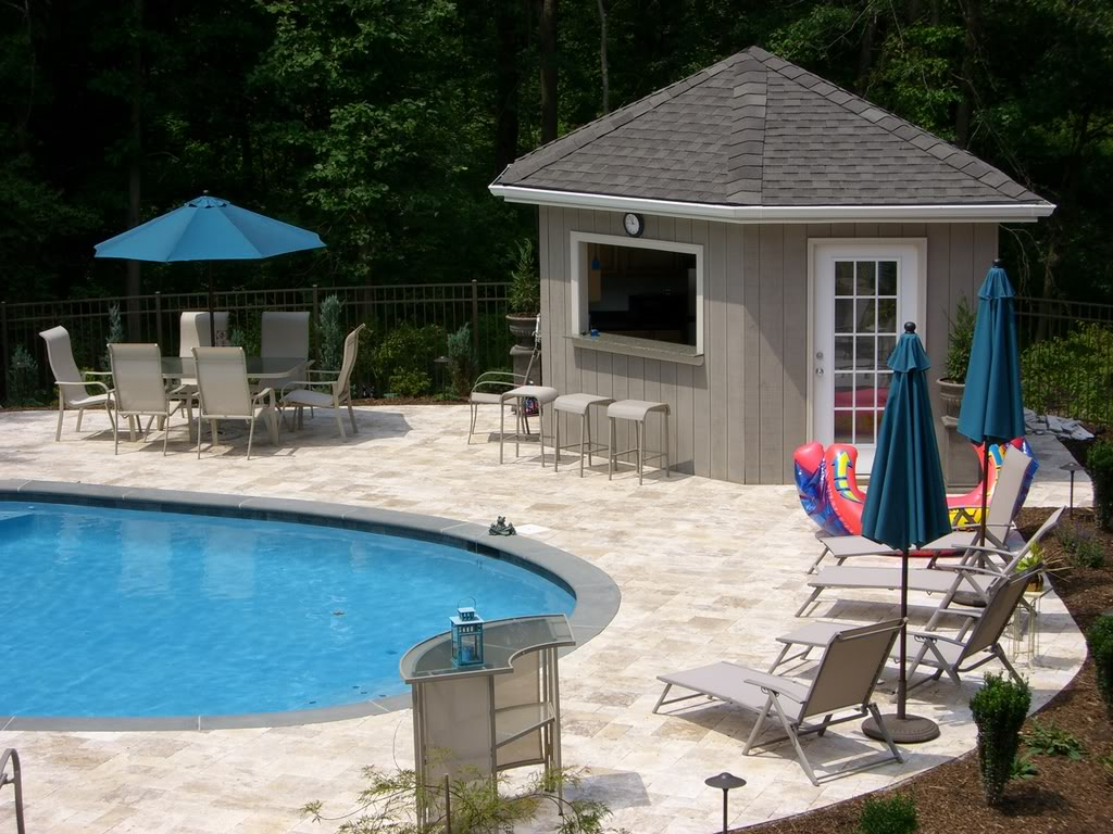 cozy cool pool cabana plans with curved swimming pool decorated with