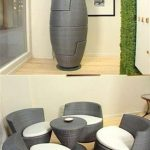 creative space saver dining set in rocket shape consisting of four grey chairs plus a round coffee table decorated on laminate floor