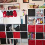 cube desk hats books bag desk pictures wall