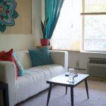 curtain sofa pillows table rug
