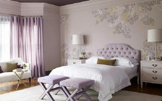 curtains bed bedroom chairs lamps rug cabinet wallpaper girl