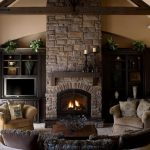 curtains stone fireplace tv cabinet sofas pillows