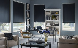dark black ikea blackout blind for modern sleek office room with beige sofas beautiful decorative blue flower glass table and grey flooor