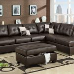 dark brown leather 2 piece sectional sofa with chaise for modern living room decorated with ottoman coffee table with storage and brown rug