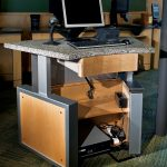 desk office monitor wood
