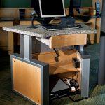 desk office monitor wood