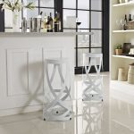 "distinctive white Ribbon 30"" Bar Stool by Modway for modern bar with decorative white flowers wine and sleek tile floor"