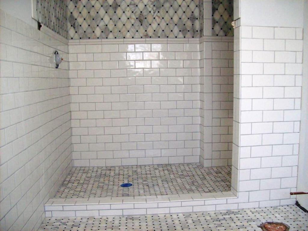 Marble subway tile shower offering the sense of elegance for Subway tile designs