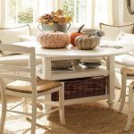 dull white corner breakfast nook furniture with pumpkins and rattan basket and dining chairs on cream area rug