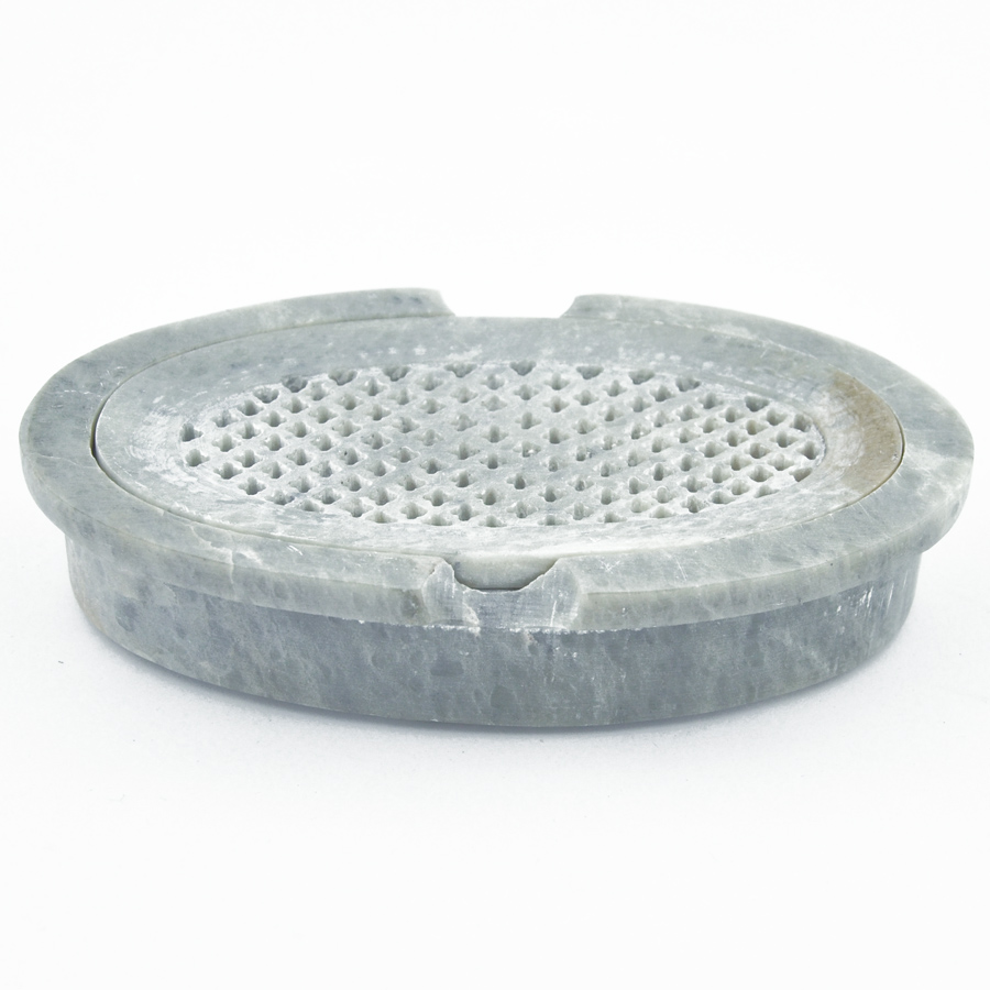 Durable draining soap dish in oval shape made of stone for your