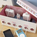 easy cord management ideas homemade charging station pastel pink charging box