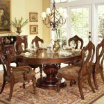 elegant antique wooden round dining room table for 6 set antique foam pad wooden chairs two tone natural color dining room antique hanging lamp full patterned brown mat