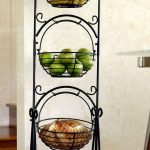 elegant black scrolled iron tiered fruit stand idea with three storey and unique fruit basket