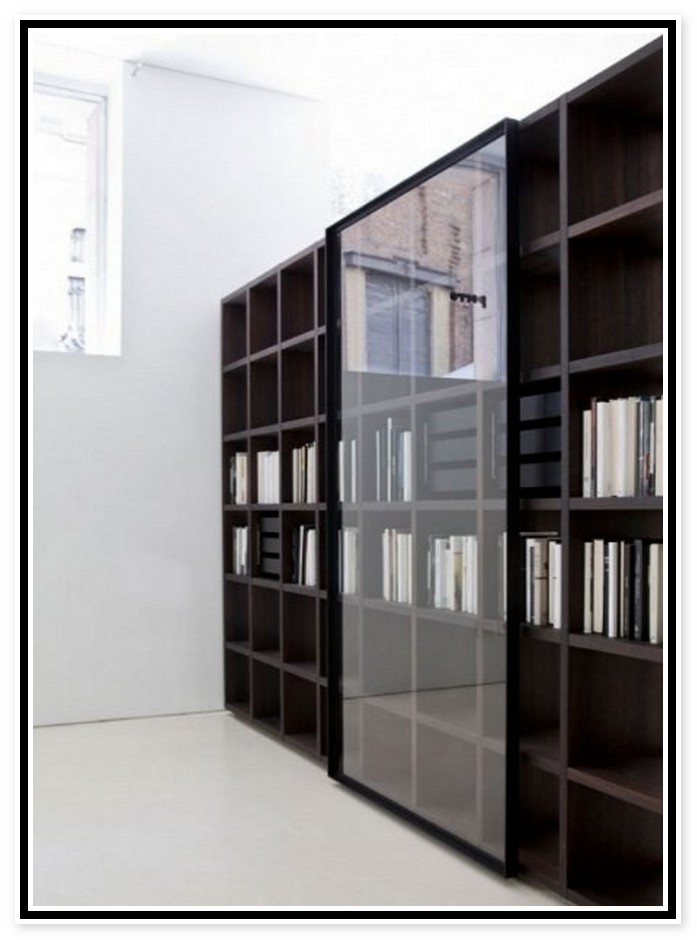 White Bookcase With Glass Door For Elgant Interior With Sheer