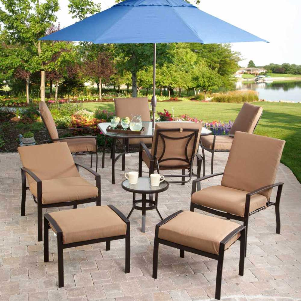 Elegant Cream Ikea Lawn Furniture Idea With Blue Umbrella Patio On Paved  Area With Grassy Meadow