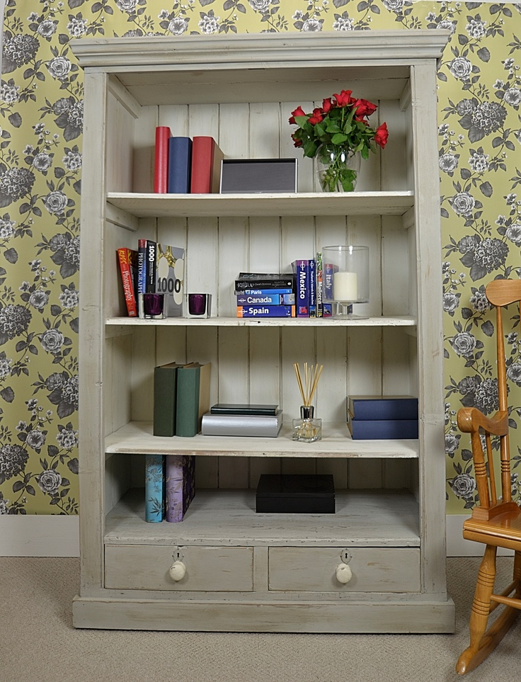Elegant Gray Shabby Chic Bookshelves Idea With Dull White Inner Color Wooden Chair And Floral