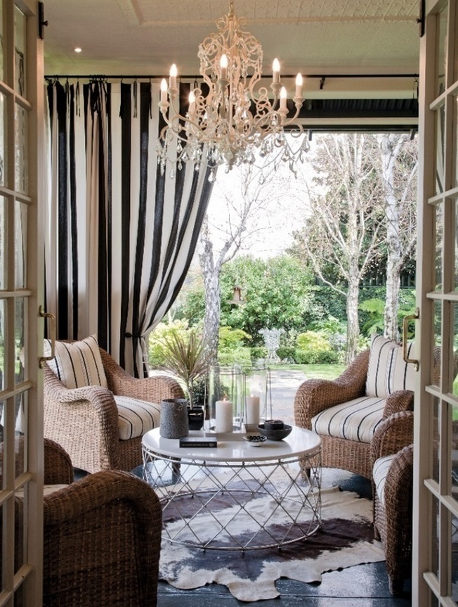 Elegant Indoor Outdoor Curtains For Porch In Striped Accentwith Comfy Chair  With Striped Accent And Enlightened