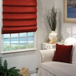 elegant red outside mount roman shades for modern white living room with decorative living plants white sofa and matched red cushion