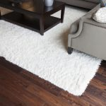 elegant white area rug on wooden floor with gray sofa and black wooden coffee table and best rug pad for hardwood floor
