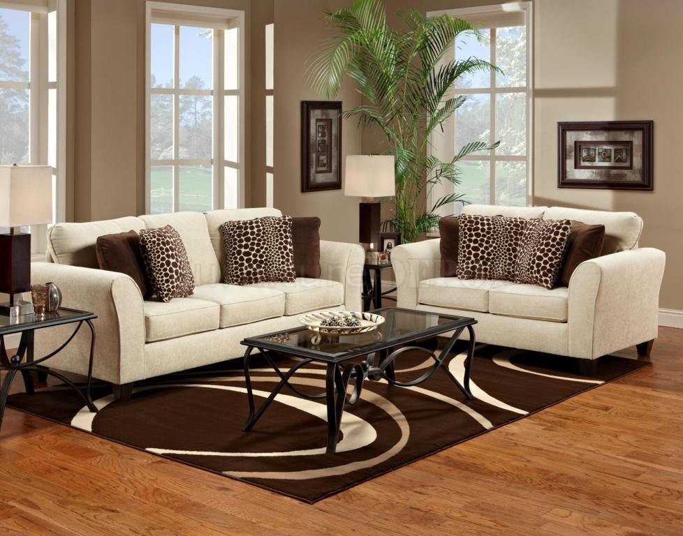 Elegant White Couch And Brown Patterned Loveseat Set With Glass Coffee  Table On Brown Patterned Area