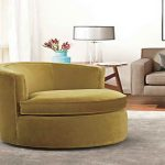 energizing yellow round oversized accent chair idea aside vintage side table with table lamp and gray couch on gray rug with open plan