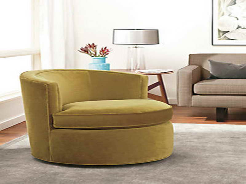 Superbe Energizing Yellow Round Oversized Accent Chair Idea Aside Vintage Side  Table With Table Lamp And Gray