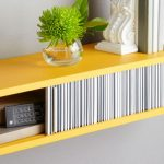 energizing yelow floating shelve lowes design with bar code sliding cover design with potted plant