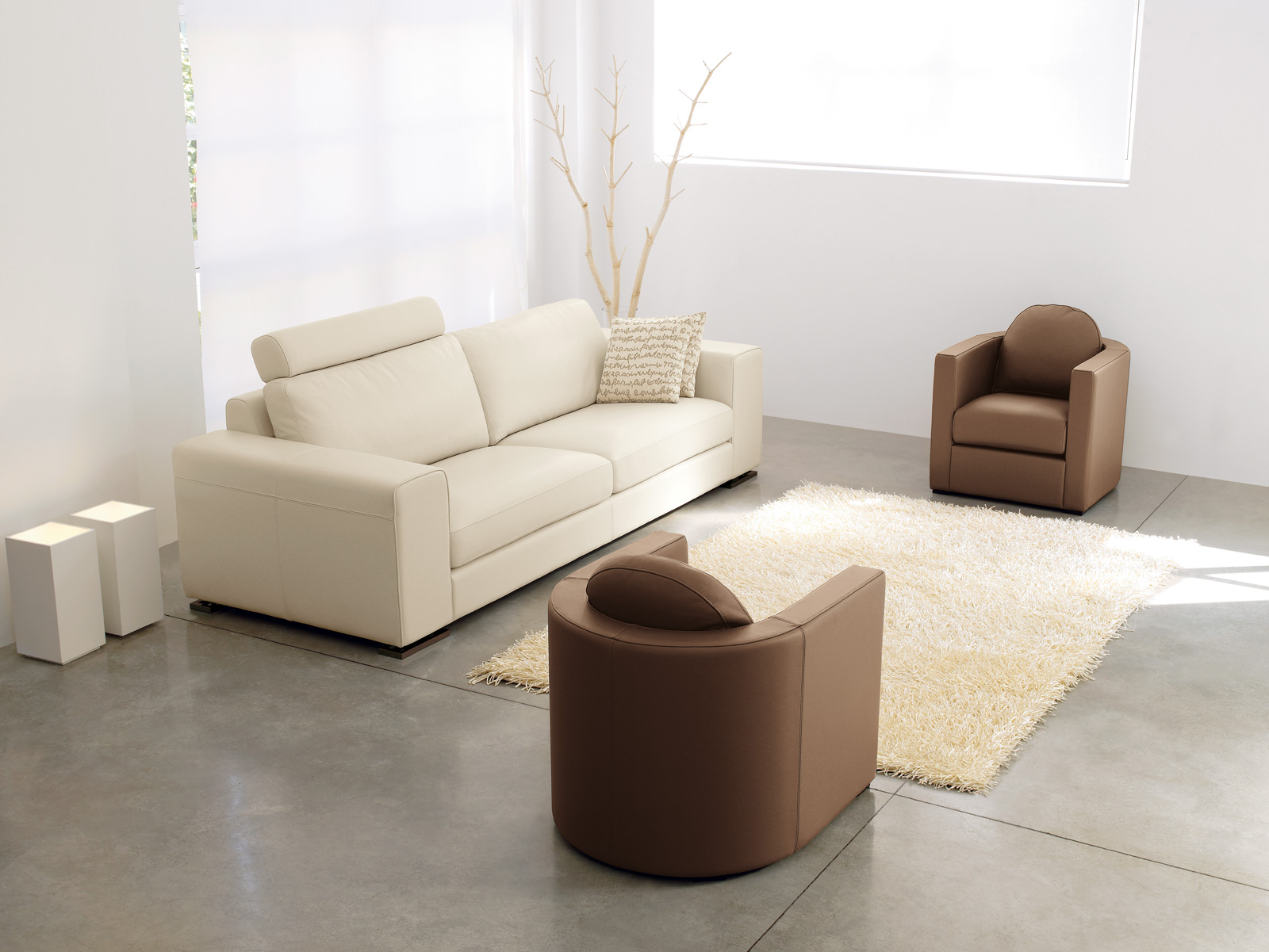 ergonomic chairs in brown and comfy white sofa with pillows white wool area  rug for living. Criterion of Comfortable Chairs for Living Room   HomesFeed