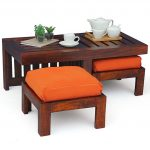 exotic japanese wooden deck coffee table design with orange stools idea with coffee set