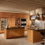 exotic wooden kitchen design with small wooden island cabinetry and kitchen bar and glass front refrigerator for home