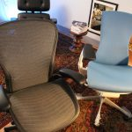 fashionable aeron chair idea with adjustment and gray color and blue in office with patterned area rug and bookshelves