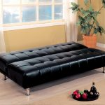 fashionable black leather ikea futon bed design with metal legs with tuft pattern in room with white washed wooden floor and glass window