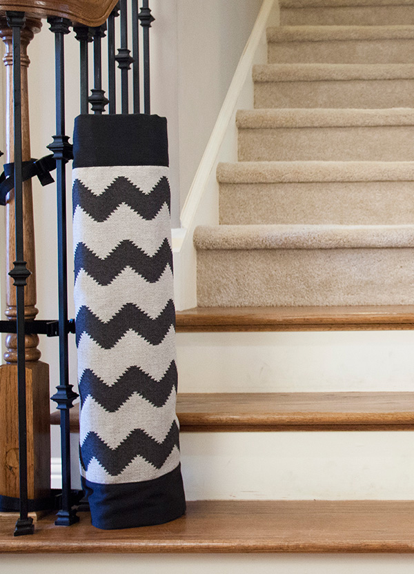Fashionable Cchevron Patterned Baby Gate For Top Stairs Design Tied To  Black Metal Gate Beneath Concrete