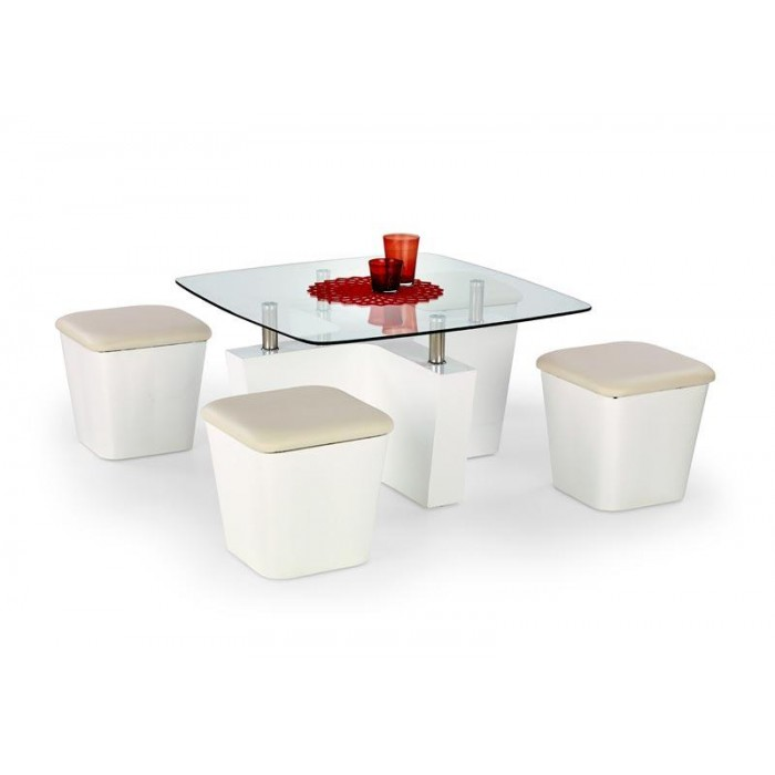coffee table with stools invites more friends to hang out With white coffee table with stools