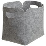 felt storage bin in grey with handle for home storage ideas